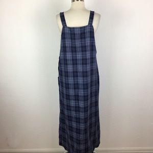 Talbot's VIntage Blue Plaid Overall Dress 12